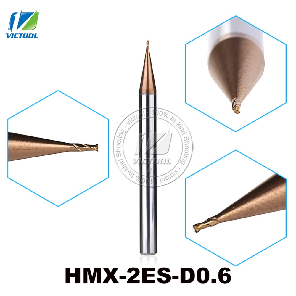 2PCS/Lot HMX-2ES-D0.6 Cemented Carbide 2-Flute Flattened End Mills Cutter End Mills Straight Shank Tiny Diameter Cutting Tools zcc ct hm hmx 2efp d12 0 solid carbide 2 flute flattened end mills with long straight shank and short cutting edge
