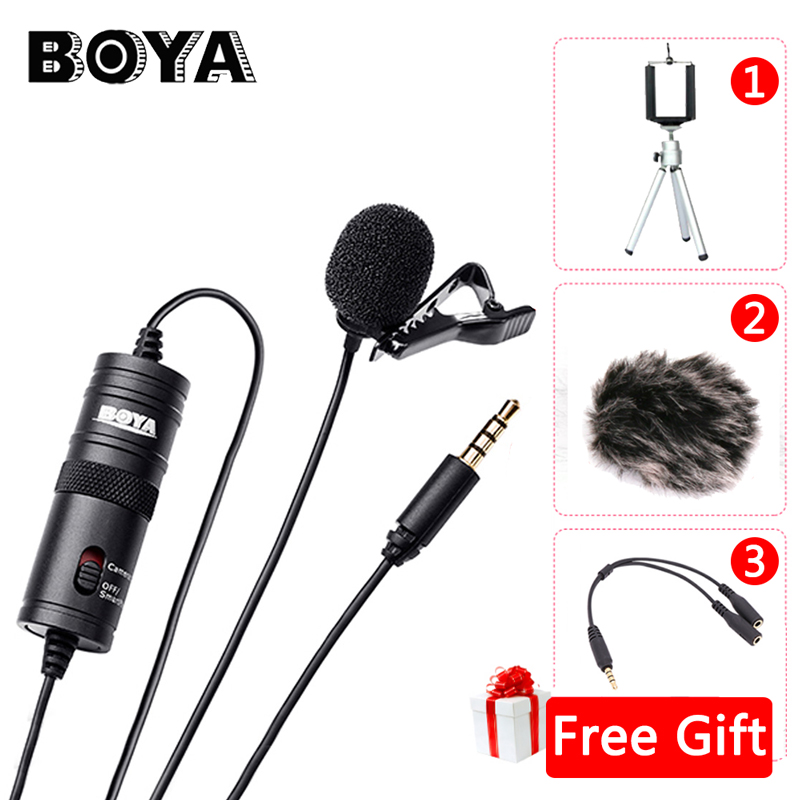 BOYA BY-M1 Etichetta Lavalier Microfono 6 m Boya By-3.5mm Microfono A Condensatore per Smartphone Dslr/Registratore/Videocamere/ parabrezza libero