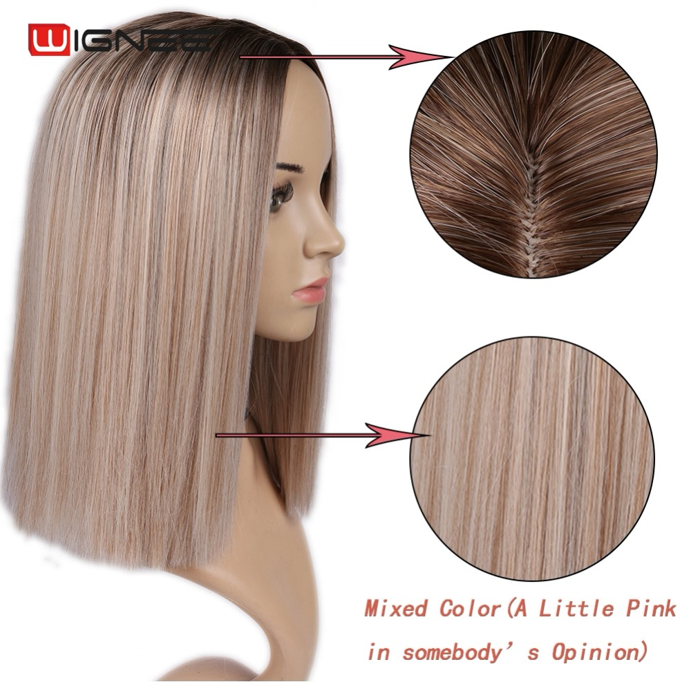 Wignee 2 Tone Ombre Brown Ash Blonde Synthetic Wig for Women Middle Part Short Straight Hair High Temperature Cosplay Hair Wigs fashion nova bathing suits