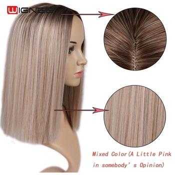 Wignee 2 Tone Ombre brązowy popiół blond peruka syntetyczna dla kobiet środkowa część krótkie proste włosy wysokiej temperatury Cosplay włosów peruki tanie i dobre opinie Wysokiej Temperatury Włókna 1 sztuka tylko Średni brąz 150 Średnia wielkość Swiss koronki Ombre Color Natural Black To Pink