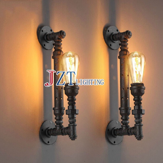 T 2 piece American Country Retro Wall Lamp Black Iron Pipe