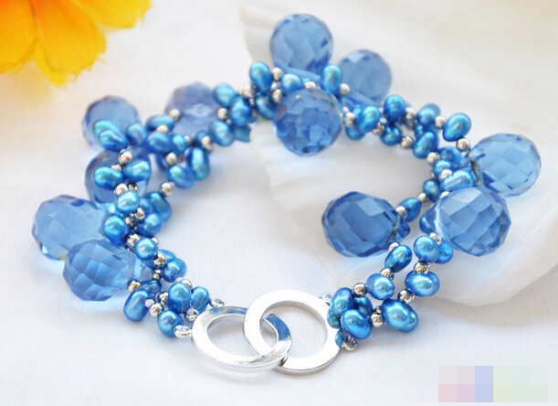 08731 3row blue rice pearl faceted drip crystal bracelet