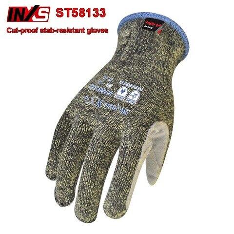 inxs st58133 cortar prevencao facada luvas de couro palma reforco akore fibra luvas de seguranca