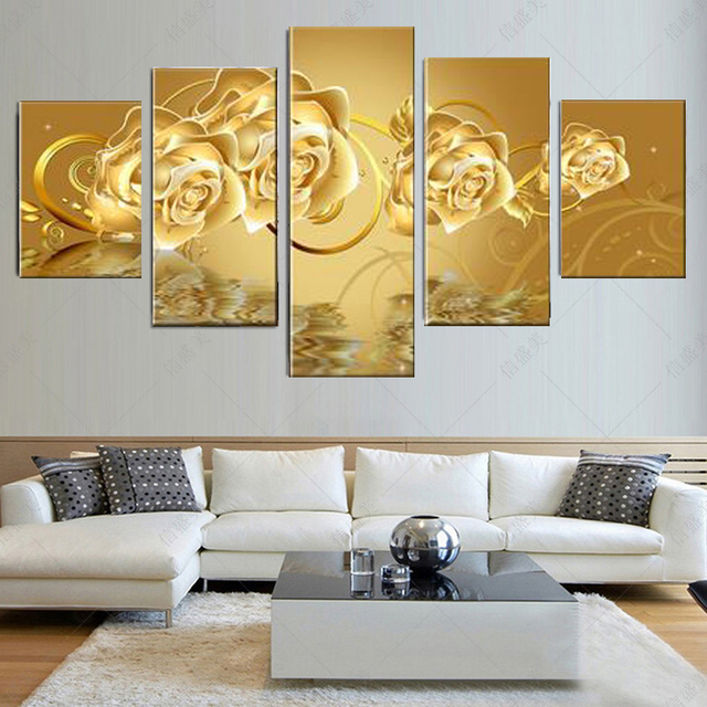 5 Pieces Canvas Art Golden Flower Canvas Print Oil Painting For ...