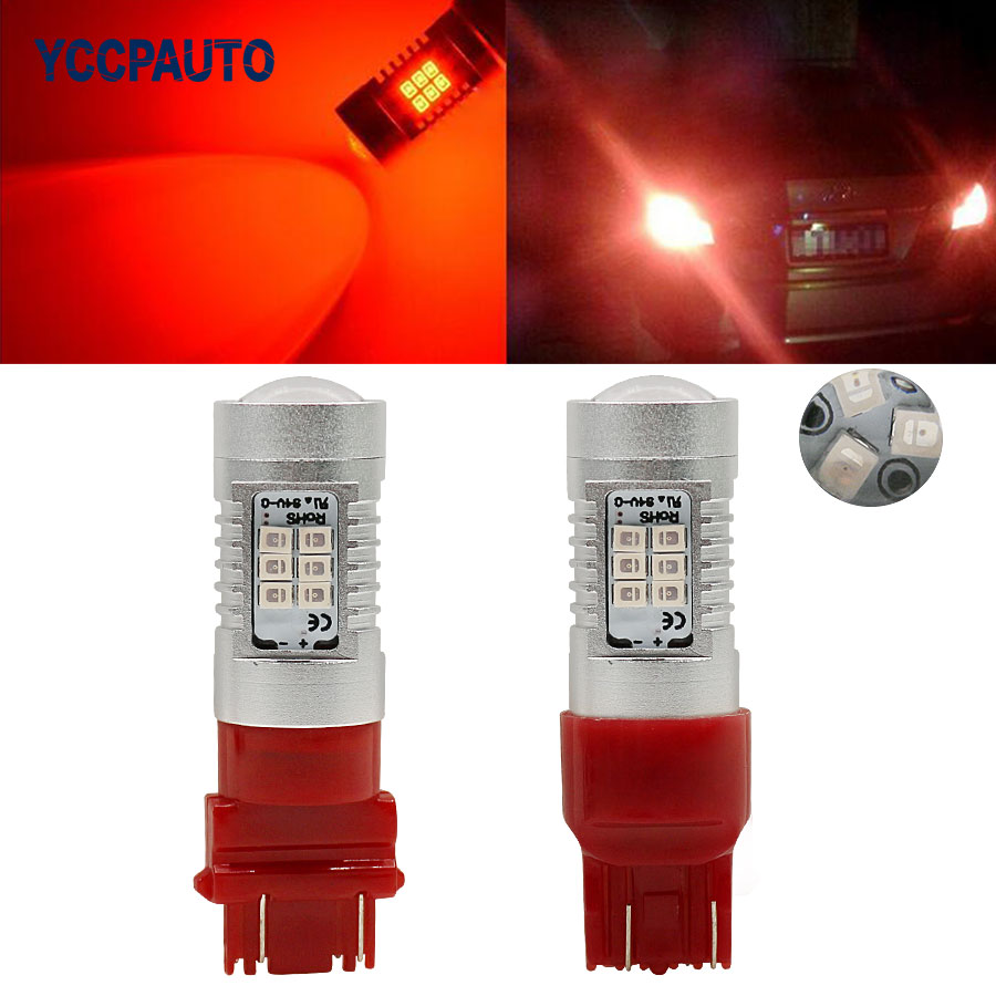 T20 Led Lights 7443 Red Tail Lamp W21/5W 3157 P27/7W Car Turn Signal Brake Reverse Parking Light Bulb DC12V 2835SMD 1Pcs