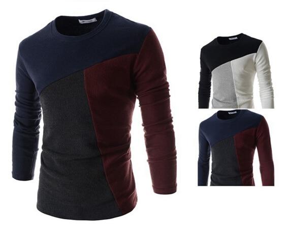 1aa0607a5b01 Design de moda dos homens T Camisas de Manga Comprida Casual Slim Fit  Tops/T-shirt dos retalhos dos homens Camisetas casuais t-shirt Ocasional