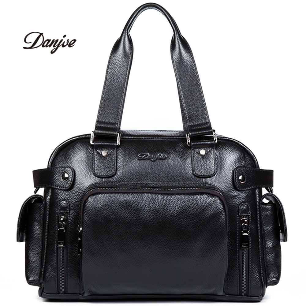 DANJUE Genuine Leather Men Briefcase Large Capacity Handbag Men Classic Black Travel Bag Soft Leather Crossbody Bag Male augus 100% genuine leather laptop bag fashional and classic crossbody bags leather for men large capacity leather bag 7185a