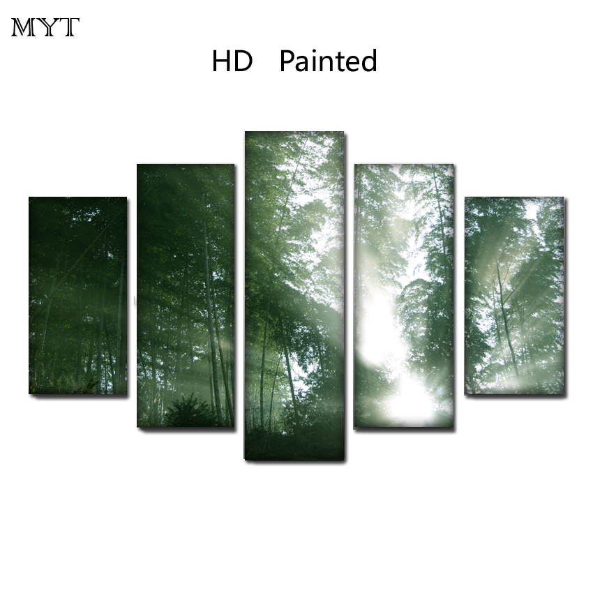 HOT sale Forest morning cheap HD Printed on Canvas Print Painting Modern Landscape Wall Art Picture For living room Home Deco