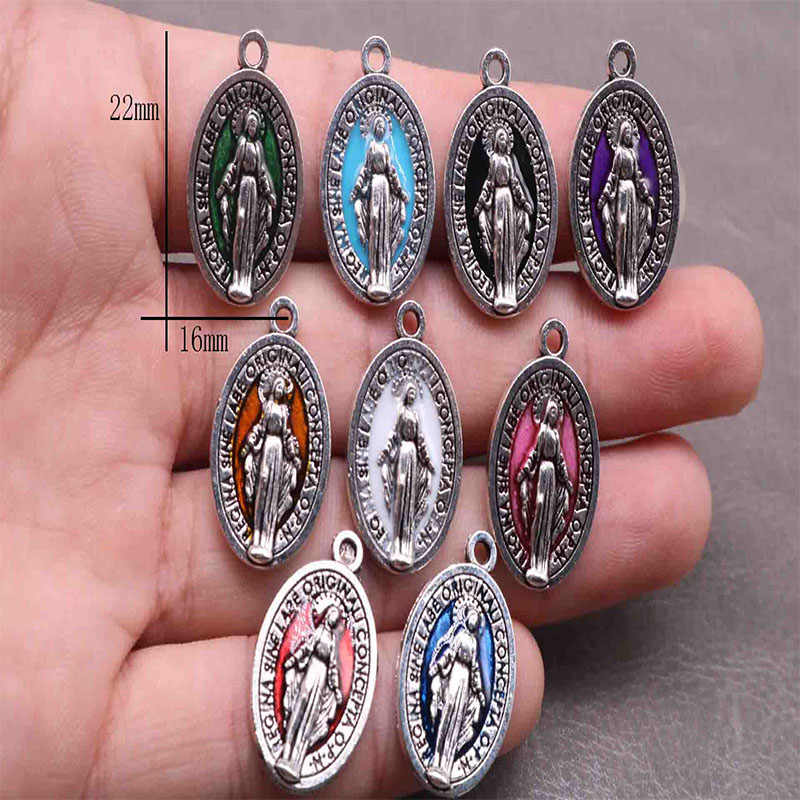 Sacred Heart Mary Religious Charms Cross Charms Mix Crosses Lot Picture Icon Charms Catholic Charms Catholic Beads DIY Jewelry Making