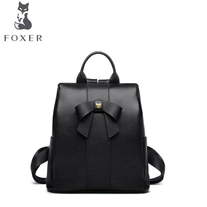 FOXER luxury fashion 2018 new shoulder bag tide soft leather student multi-function bag wild large-capacity backpack female цена 2017