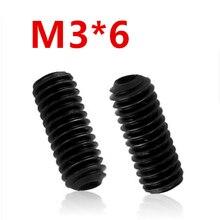 Бесплатная доставка, 100 шт./лот M3x6 мм M3 * 6 мм, болты с шестигранной головкой из легированной стали, болты с наконечником