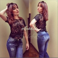 Sheer Lace Crop Top Slim Bustier Crop Top Fitness Women Tops Shirts 2015 New Fashion Short