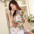 2016 Verano estilo Kimono blusas de Gasa de manga Corta Impresa Ocasional superior Más El tamaño XS-5XL Mujeres camisas blusas tops vintage cuerpo