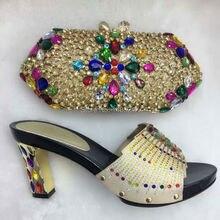 GOLD Fashion schönen passenden schuhe und tasche set größe high heel für einzelhandel/großhandels freies verschiffen