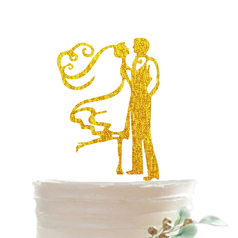 Tronzo New Gold Silver Wedding Decoration Cake Topper Hollow ...