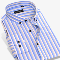 2017 New Spring Men S Blue White Striped Dress Shirts Business Square Collar Long Sleeve Slim