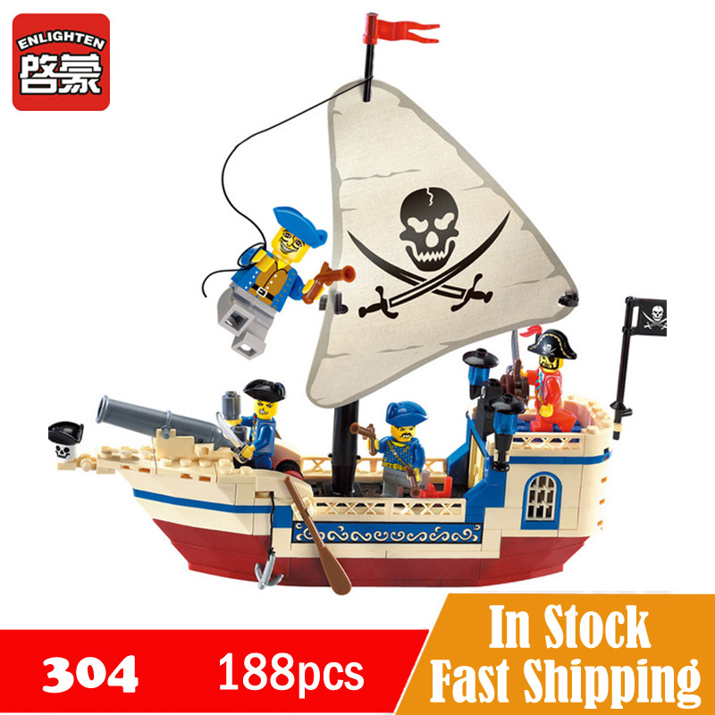 Enlighten Pirates Of The Caribbean Ship Brick Bounty Legoe Pirate Ship Building Blocks Christmas Gifts toys for children 304
