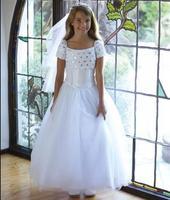 Stunning White Flower Girls Dresses For Wedding Rhinestone Crystals Short Sleeve Ankle Length Kids Custom Made