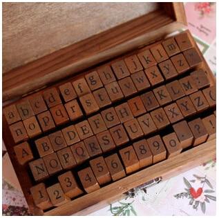 Livraison gratuite numérique lettre vintage laine timbre boîte en bois 70 pcs/caixa dans Timbres de Bureau et des Fournitures Scolaires