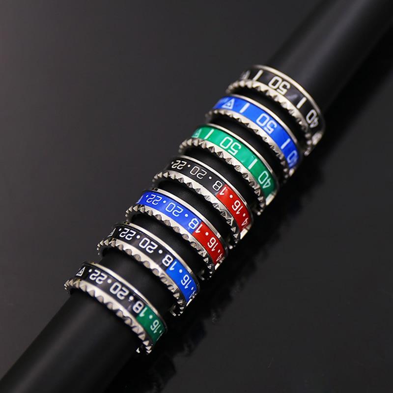 Ltalian stílus Új ékszerek 316L rozsdamentes acél mandzsetta sebességmérő Hivatalos gyűrű 36 szín