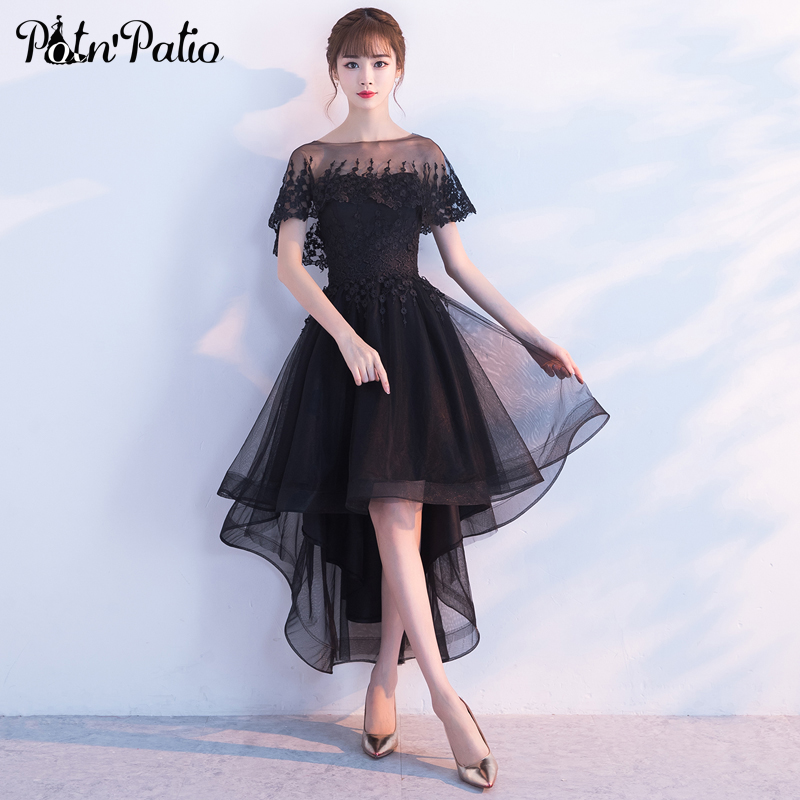 PotN'Patio High Low   Prom     Dresses   Wtih Removeable Jacket 2017 New Elegant Black Graduation   Dresses