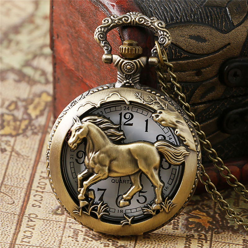 Chinese Zodiac Pocket Watch Quartz Necklace Pendant Clock Gifts For Men Women Bronze Vintage Pendant Pocket Necklace Reloj
