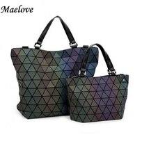 Maelov Berühmte Logo tasche-Frauen Geometrie Pailletten Spiegel Saser Einfachen Klapp Taschen BaoBao Tasche Casual Tote Leucht Handtaschen Bao Bao