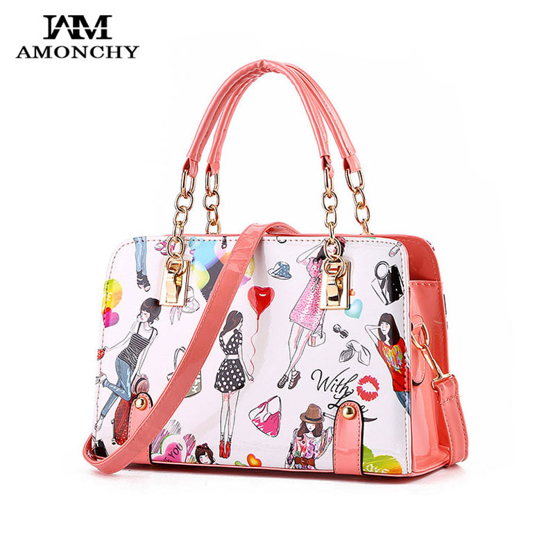 2016 Fashion Chain Women Handbags Totes Casual Woman Shoulder Shopping Bag Patent Leather Handbag Stylish Cartoon Laides Bags 30 - AMONCHY Leatherware Store store