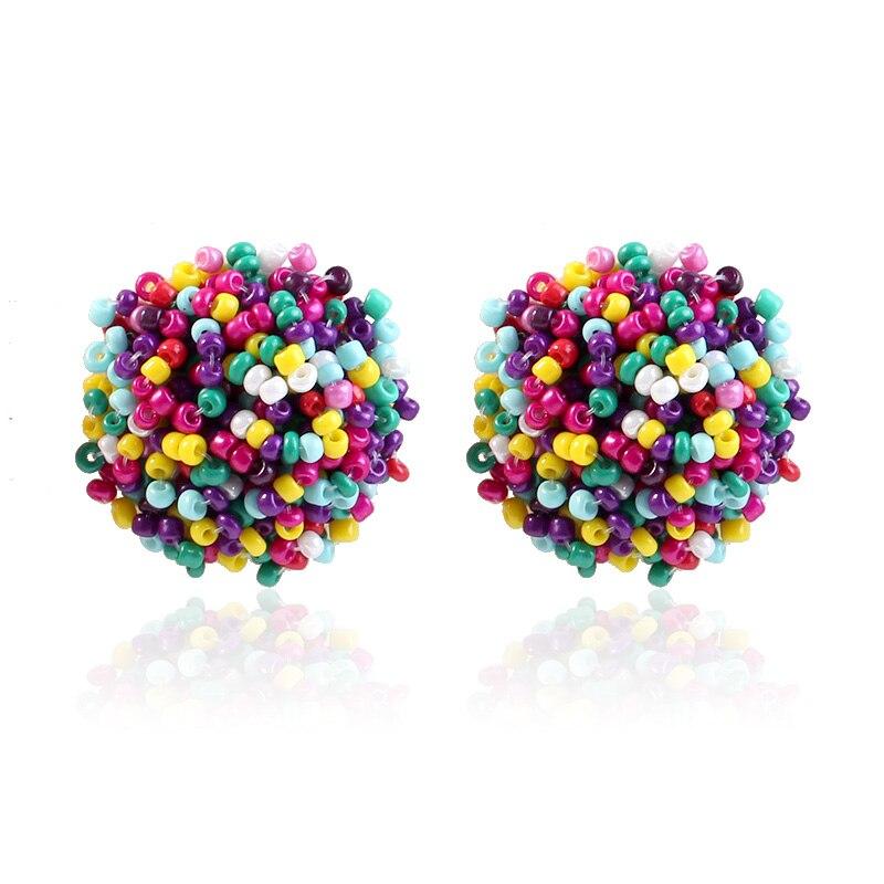 New Earrings Fashion Simple Stud Earrings Personality Trend Push back Mi beads Earrings Jewelry Women 39 s Earrings in Stud Earrings from Jewelry amp Accessories