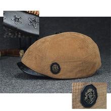 Для мужчин Для женщин Однотонная одежда ветрозащитный Теплый берет крышки удобные вельветовые утка язык шапки-береты Повседневное козырек Ретро вперед шапки