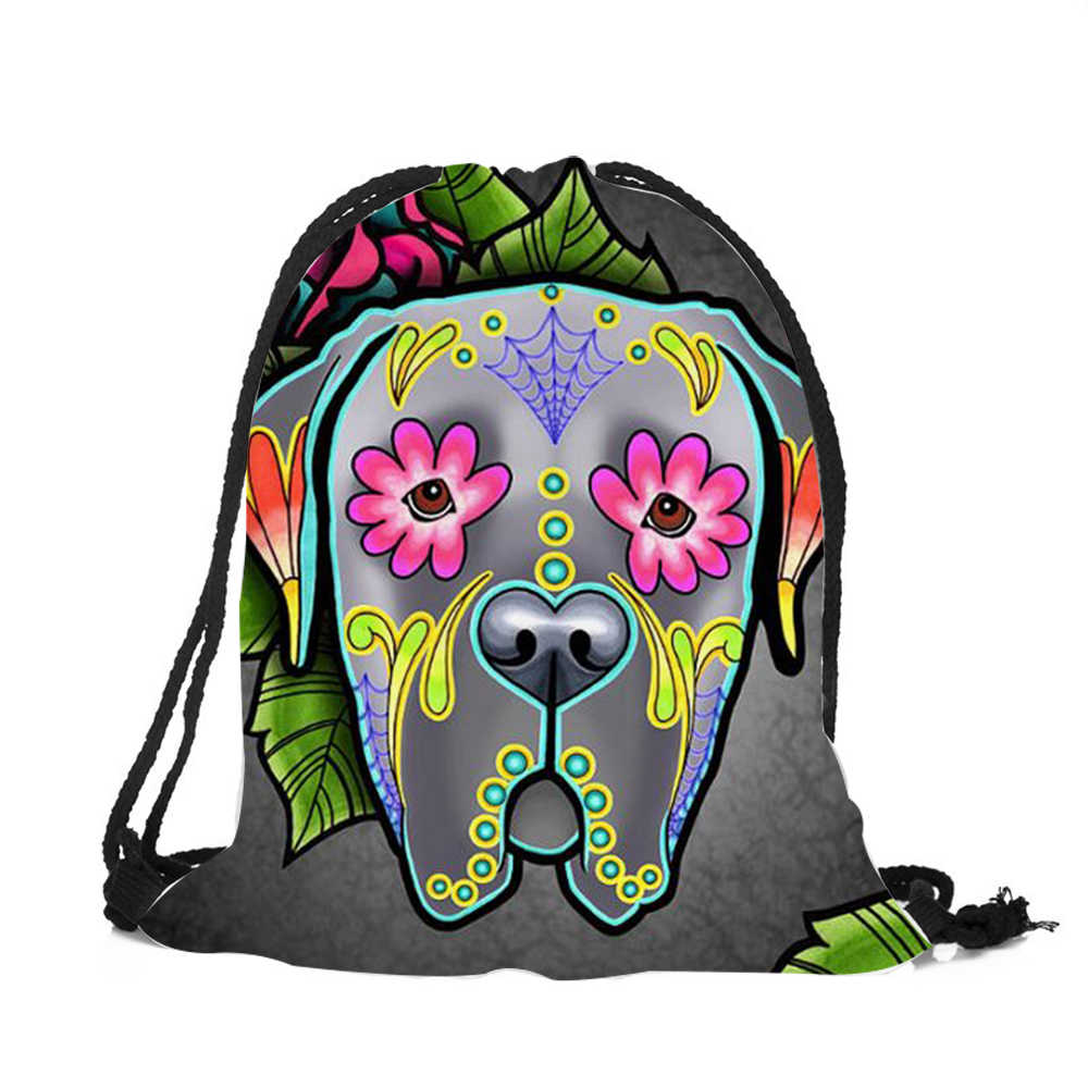 ... Customized Drawstring Bags Women Men Unisex Skull Dog Tattoo 3D  Printing Bags Mochila Feminina sac a ...