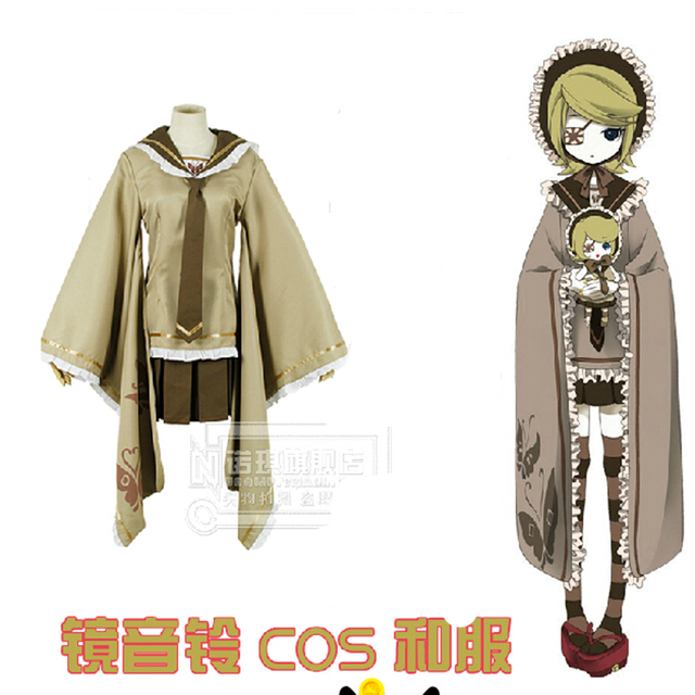 High Quality Vocaloid Cosplay Costume Kagamine Rin/Hatsune Miku Senbon  Sakura Kimono Women Lolita Uniform
