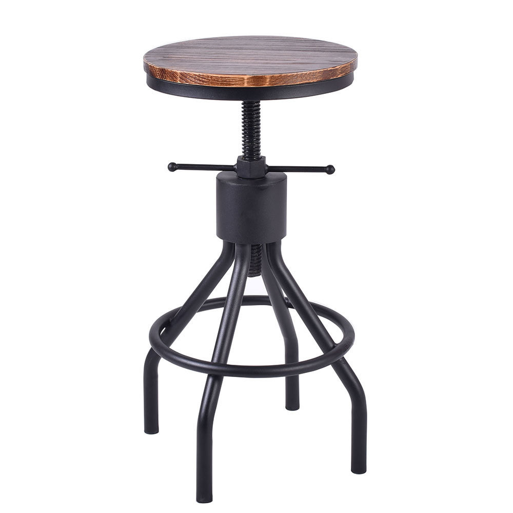 Vintage Bar Stool Swivel Coffee Chair Kitchen Dining Height Adjustable Wood Seat