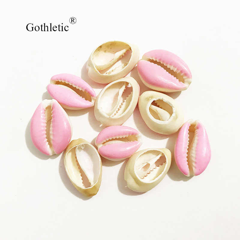 10pcs/lot 15x22mm Pink/Yellow/Fuschia/Green Enamel Natural Puka Cowrie Shell Loose Beads for DIY Jewelry Making Connect Charms