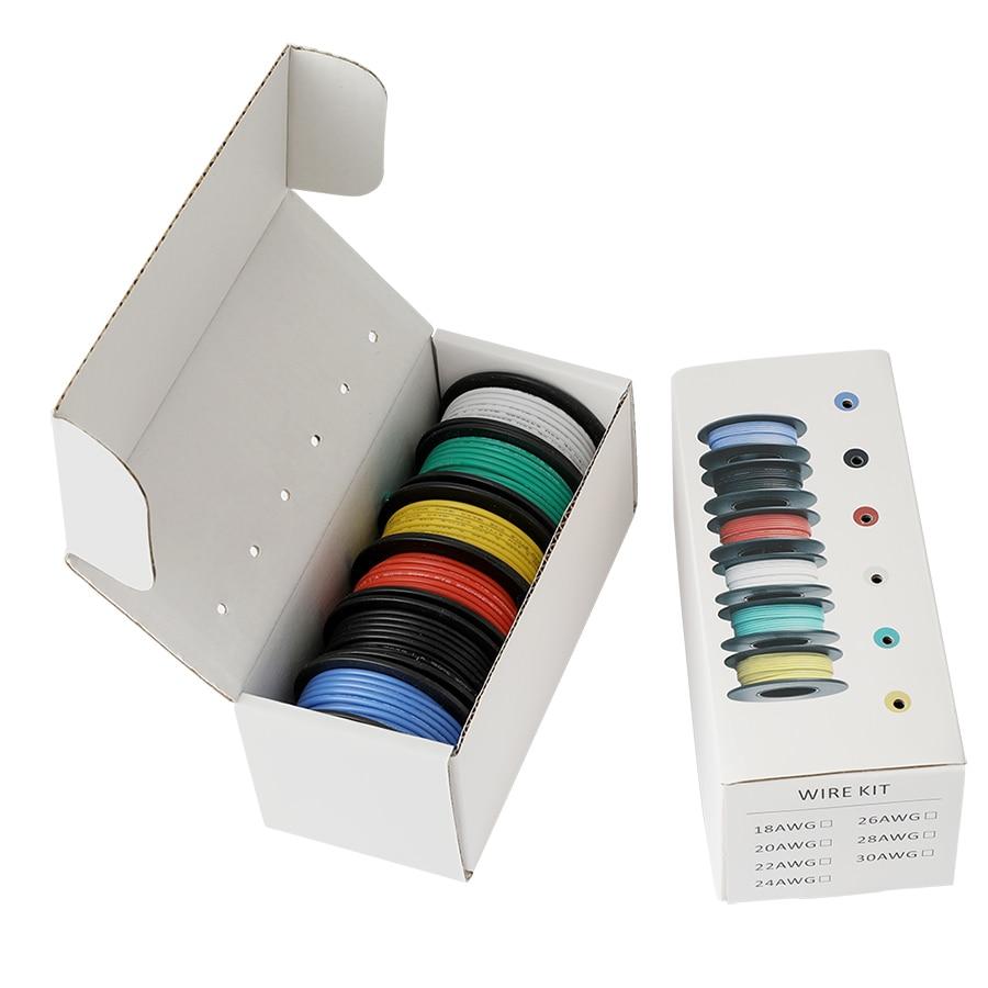 26/24/22/18 AWG гибкий силиконовый многожильный провод, провода, 6 цветов, Смешанная упаковка, электрический провод, медная линия для рукоделия, 300 ...