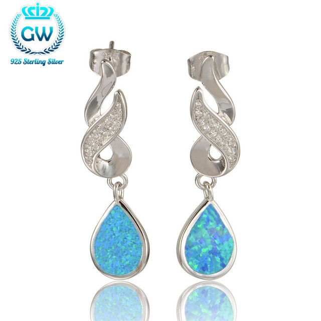 925 Sterling Silver Opal Earrings For Women 2015 New European Style Wedding & Engagement GW Brand Jewelry Fe348