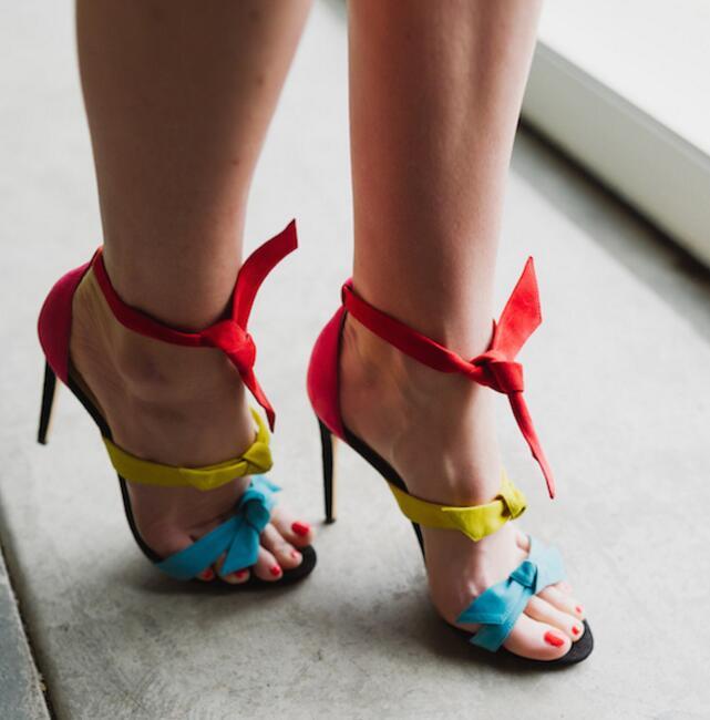 Bleu as Jaune Ouvert Summer Chaussures Bout Couleurs Arc Talons Up Cheville As Robe Rouge Et Mélangées Lace Sangle Picture Dames Sexy Sandales Picture Hot Haute zqIEwgnxw