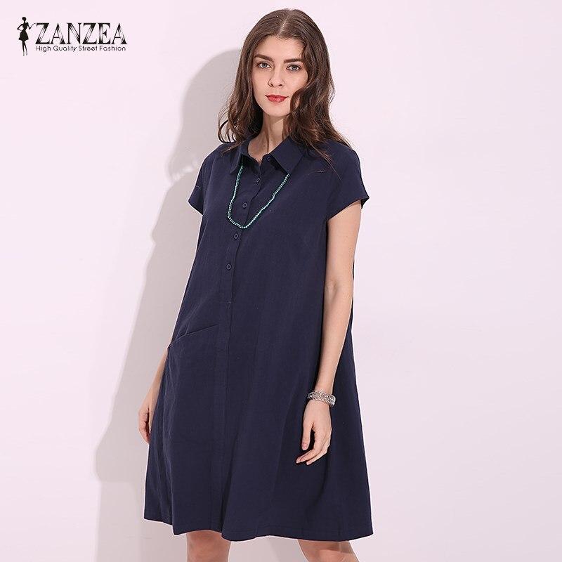 ZANZEA Women Dress 2018 Summer Vintage Cotton Dress Casual Loose Lapel Neck Short Sleeve Midi Dresses Ladies Vestidos Plus Size
