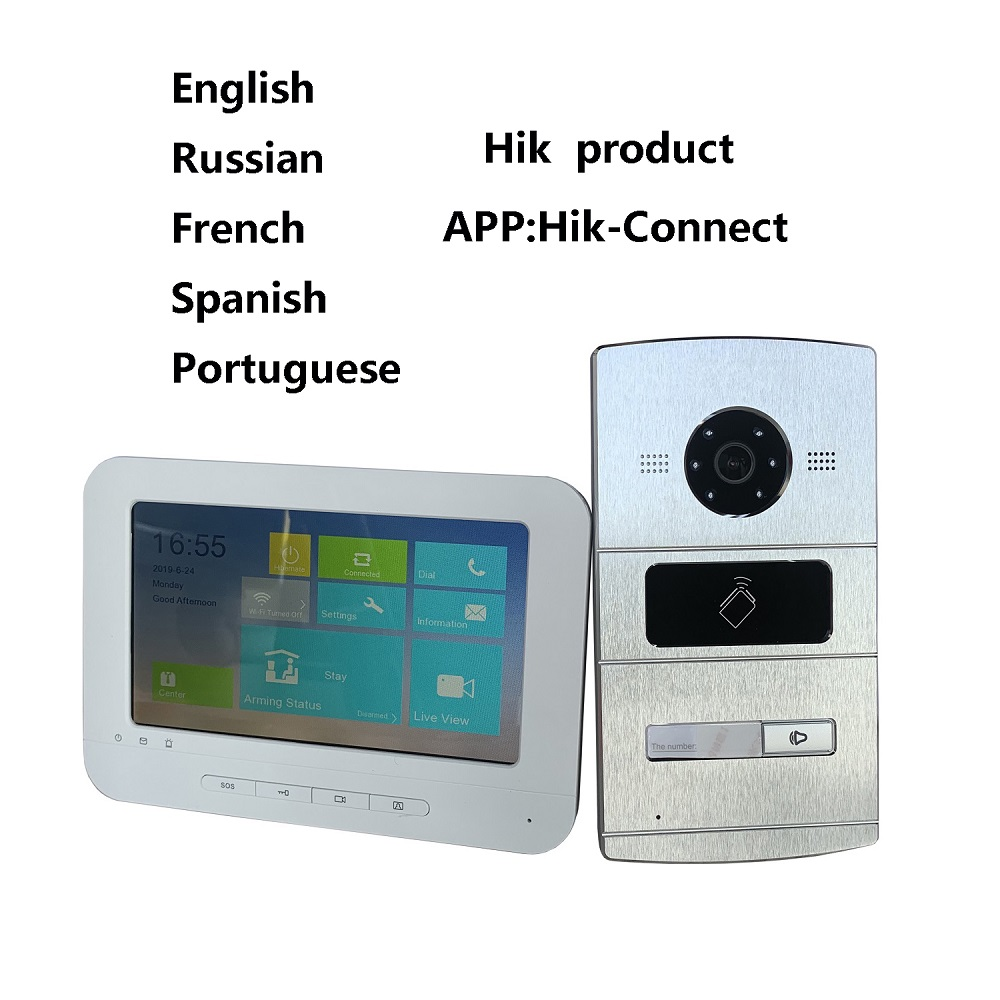HIK Multi-language Video intercom KIT,IP Doorbell,IP door phone,Outdoor camera and WiFi Indoor monitor Воск