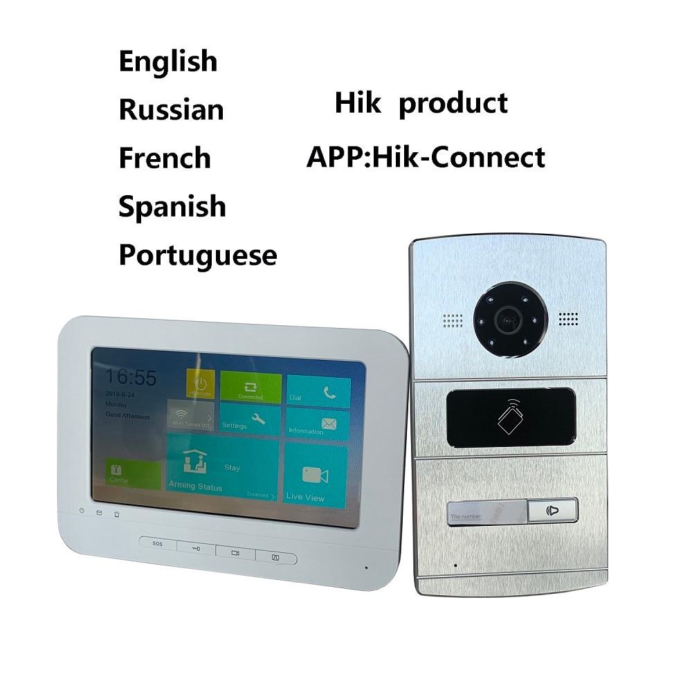 HIK Multi language Video intercom KIT,IP Doorbell,IP door phone,Outdoor camera and WiFi Indoor monitor