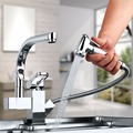 Polish Chrome Kitchen Faucet,Kitchen Sink Mixer With Pull Out Shower Sprayer Kitchen Faucet