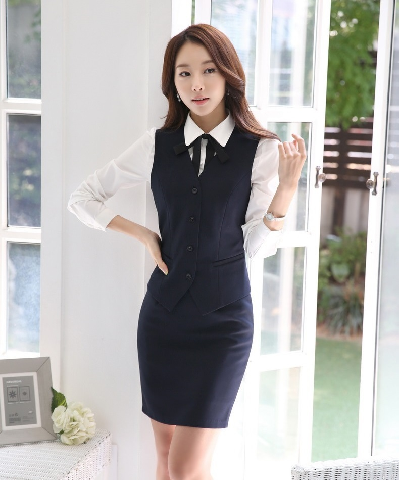 Formal Women Business Suits with Skirt and Top Sets Vest & Waistcoat Slim Ladies Work Wear Clothes Office Uniform Styles