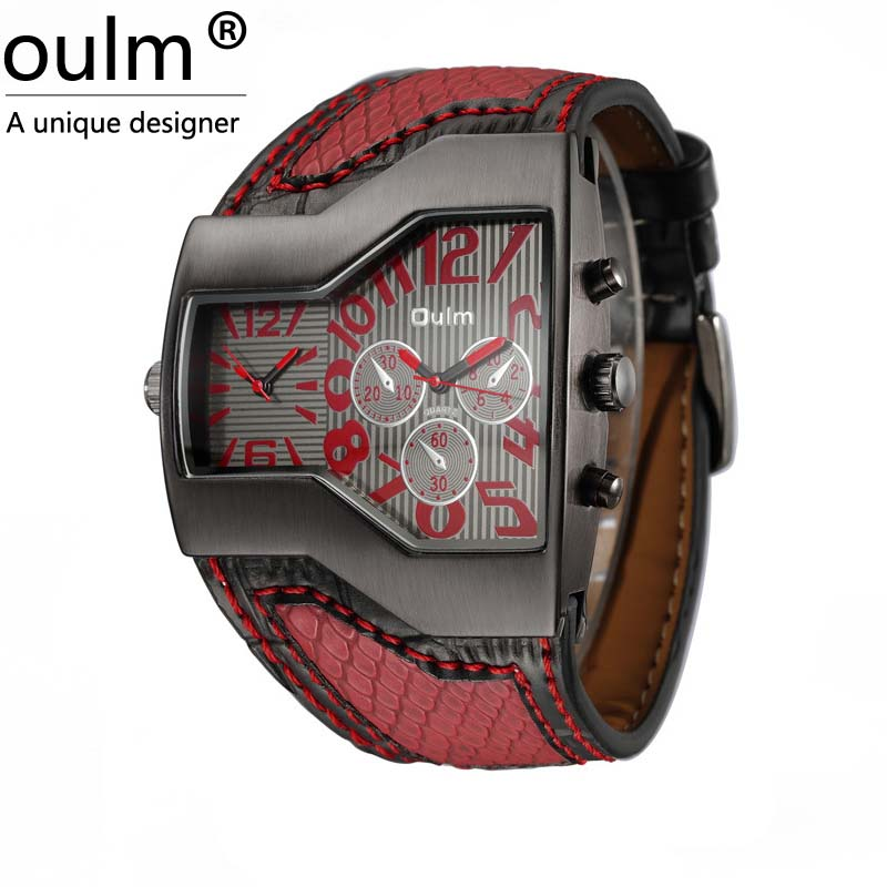 Prix pour Oulm mode de qualité pas cher de luxe hommes militaire montre-bracelet avec double mouvement à quartz bracelet en cuir 5 couleurs