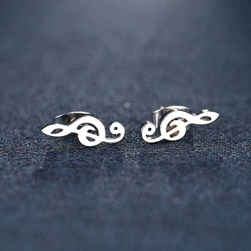 Cacana Stainless Steel Stud Earring Music Treble Clef IMG_5501