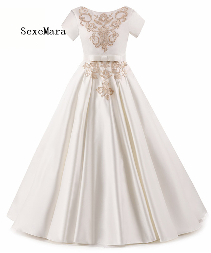 Real Picture 2018 Gold Appliques Lace Flower Girls Dresses for Wedding Pleated First Communion Dresses for Girls box pleated lace