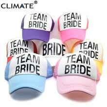 CLIMATE Bride Team Bride Bridesmaid Women Wedding Mesh Caps Hat  Bachelorette Summer Trucker Caps White Neon 607f6809176a