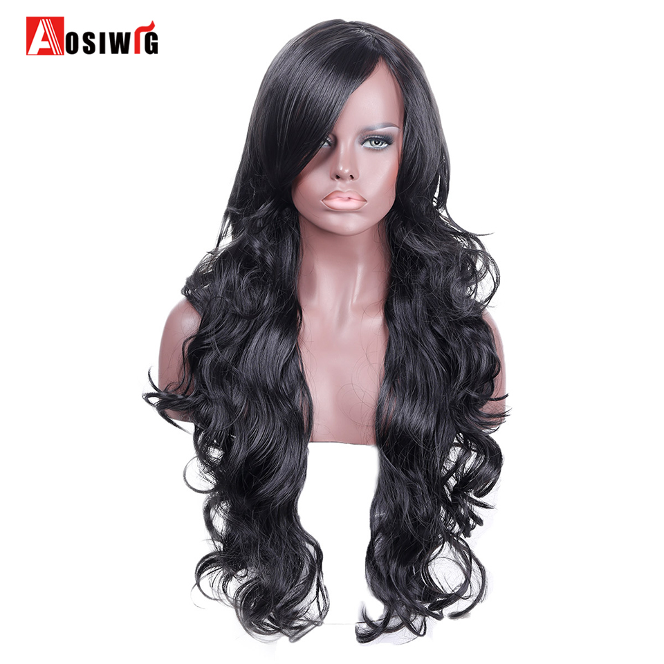 Long Wavy Cosplay Wigs For Women Red Pink Blue Balck Wig Heat Resistant Female Hair Cosplay Wig AOSIWIG
