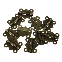 Hot 10pcs Mini Butterfly Style Hinges for Dolls Houses Jewelry Box - Gold(China)