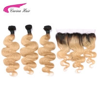 Carina Honey Ombre 1b27 Hair Color Brazilian Blonde Color Hair Wefts 3 Bundle with 13x4 Ear to Ear Lace Frontal Remy Human Hair