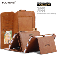 FLOVME Retro Wallet Case For IPhone 6 6S 7 PU Leather Cover Zipper Handbag Card Holder